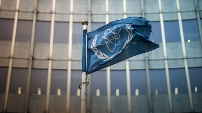 The flag of the International Atomic Energy Agency (IAEA)