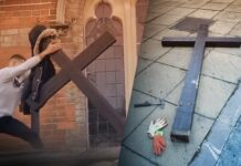 man tears down large Christian cross outside UK church in broad daylight