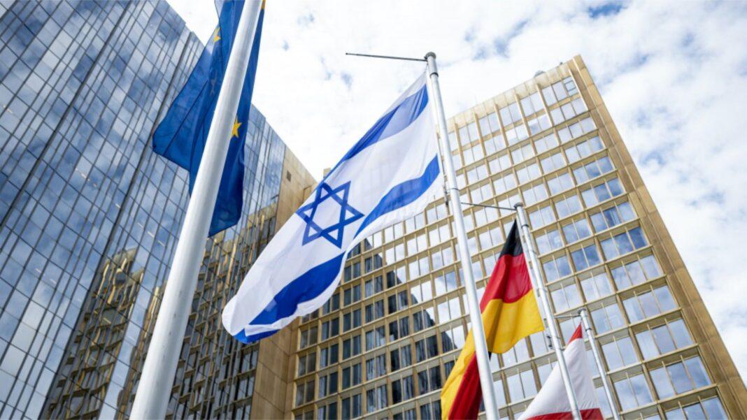 israel flag outside Axel Springer